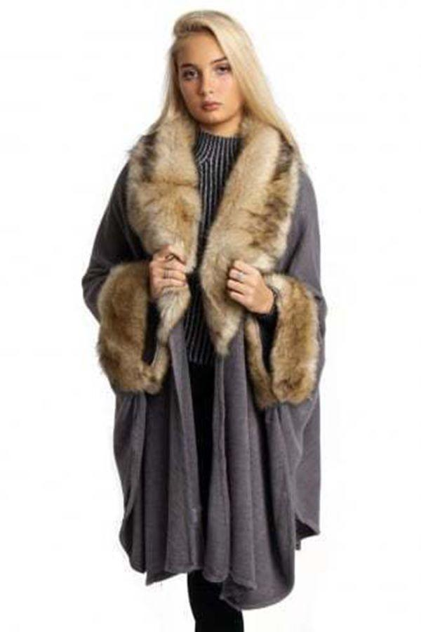 Faux Fur trimmed Swing Poncho.