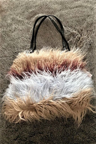 Multi coloured Mongolian Faux Fur Handbag