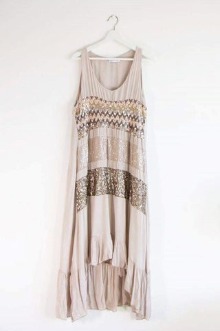 Taupe Maxi  Dress with Aztec Sequin Pattern Panels