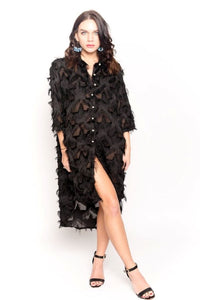 Black Oversized Shirt Dress With Feather Tassel Look Embroidery
