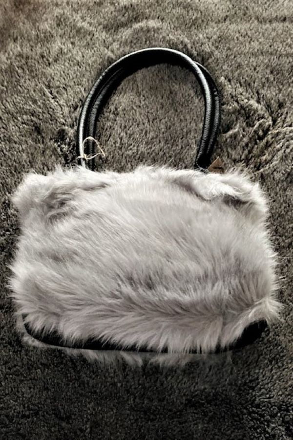 Pale Grey Tones Faux Fur Handbag