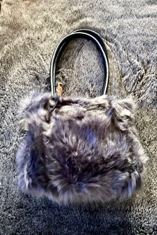 Dark Grey Tones Faux Fur Handbag