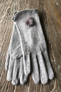 Grey Pompom Cashmere Blend Gloves