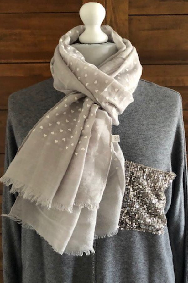 Grey and white Heart embossed Scarf