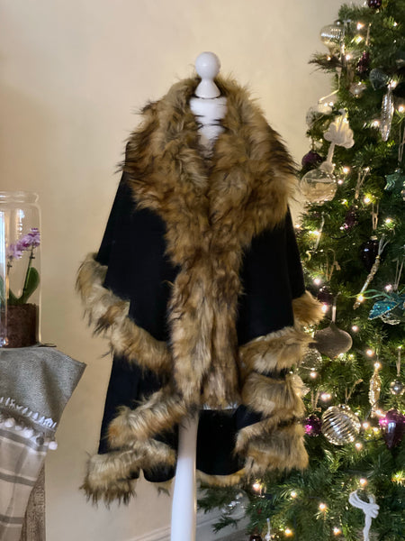 Faux Fur Hooded Swing Poncho