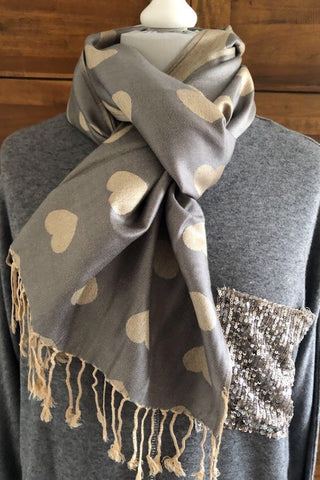 Pale Grey Heart Pashmina