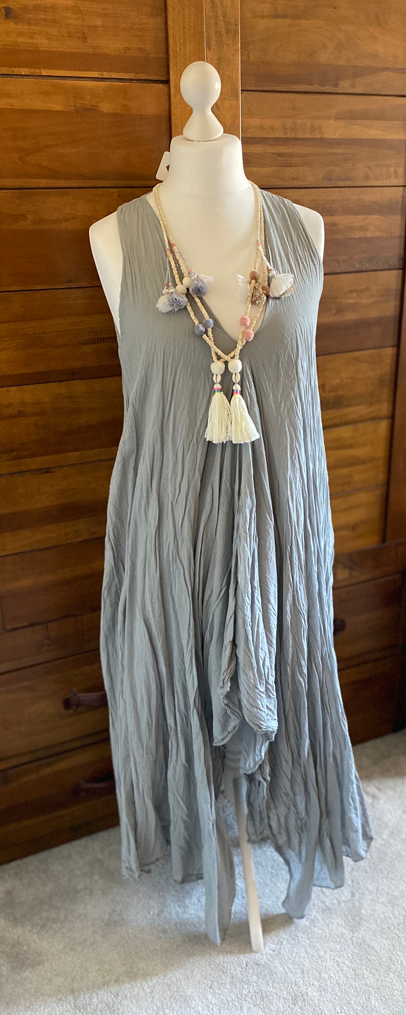 Grey Double Layer V Neck Dress with a Hanky Hem