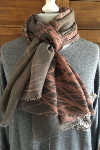 Pink and grey abstract print  Pashmina