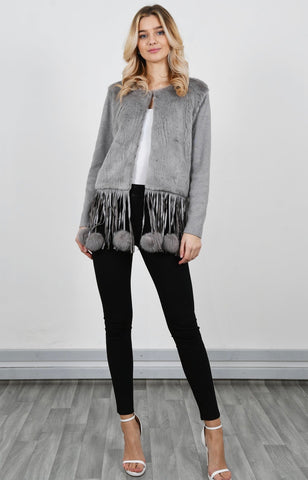 Pom Pom tassel trim faux fur jacket with knitted sleeves and back