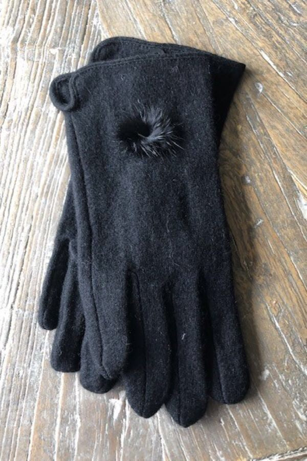 Black pompom Cashmere Blend Gloves