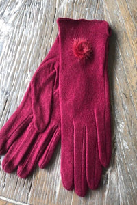 Berry Pompom Cashmere Blend Gloves