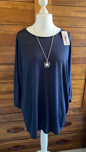 Necklace longsleeve, Oversize top NAVY