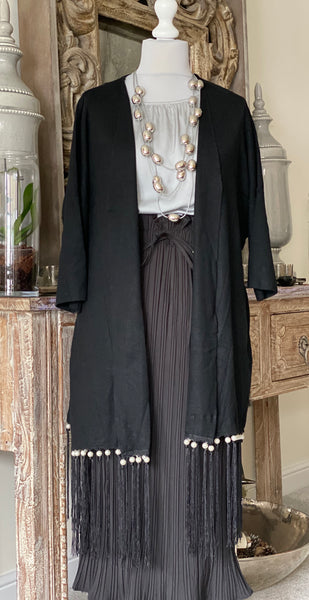 Gorgeous pearl trim and belt cardigan