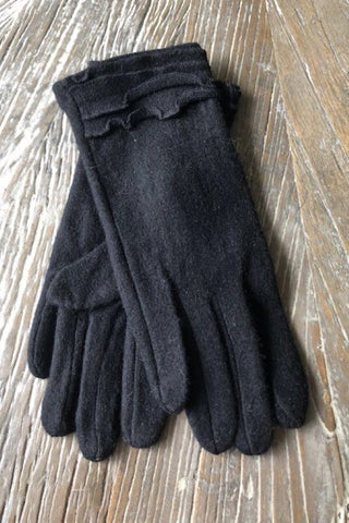 Black  Ruffle Cashmere Blend Gloves