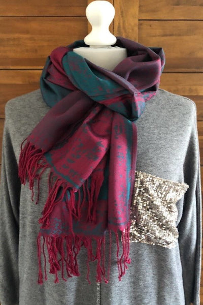 Pink, Mauve and Turquoise Striking  Print  Pashmina- Reversible