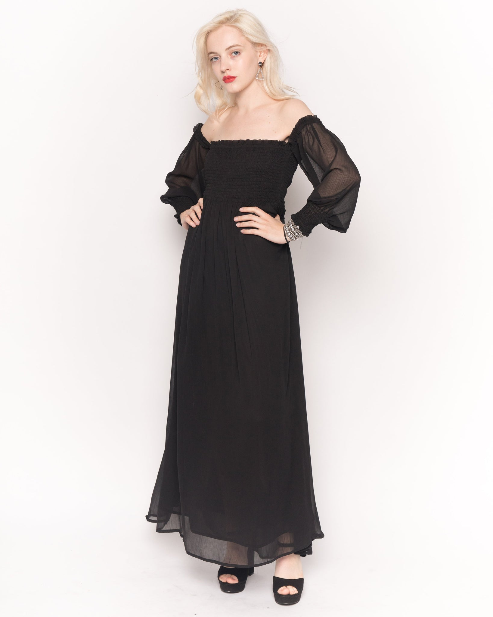 Off Shoulder Chiffon Maxi Dress With Long Sleeves In Black -CY Boutique