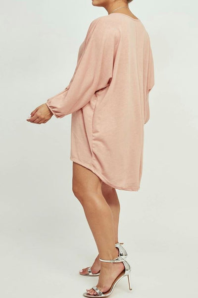 Pink Longsleeve oversized necklace top
