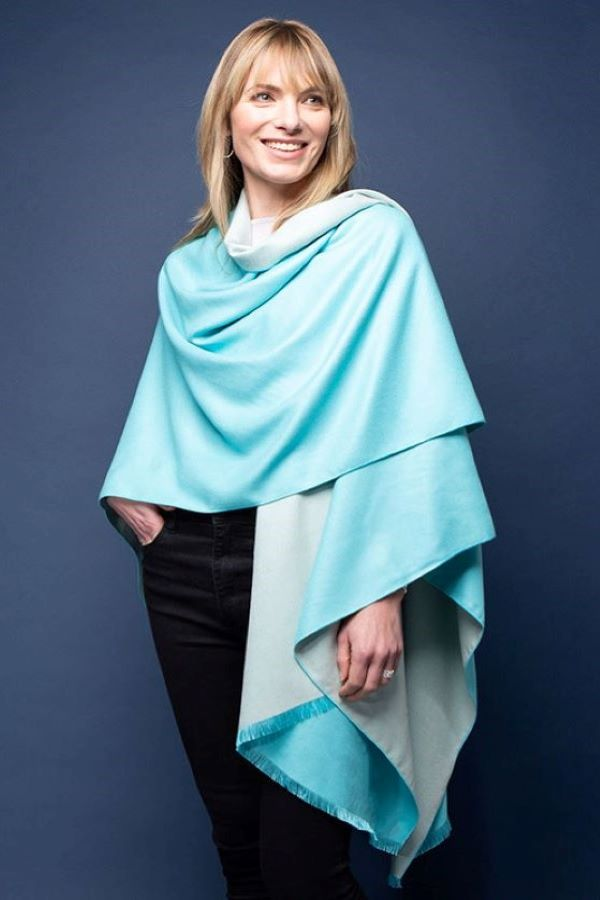 Tilley and Grace Tess Wrap- Aqua and Cream