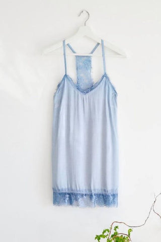 Blue  Camisole lace trim Top