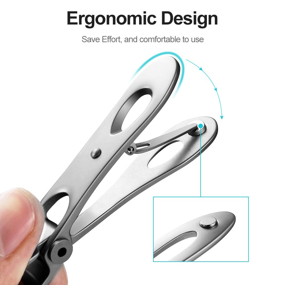 Nail Clipper Set,15mm Wide Jaw Opening Nail Clippers for Thick Toenails or Tough Fingernails,Good Gift for Men, Seniors,Stainless Steel (2Pcs)