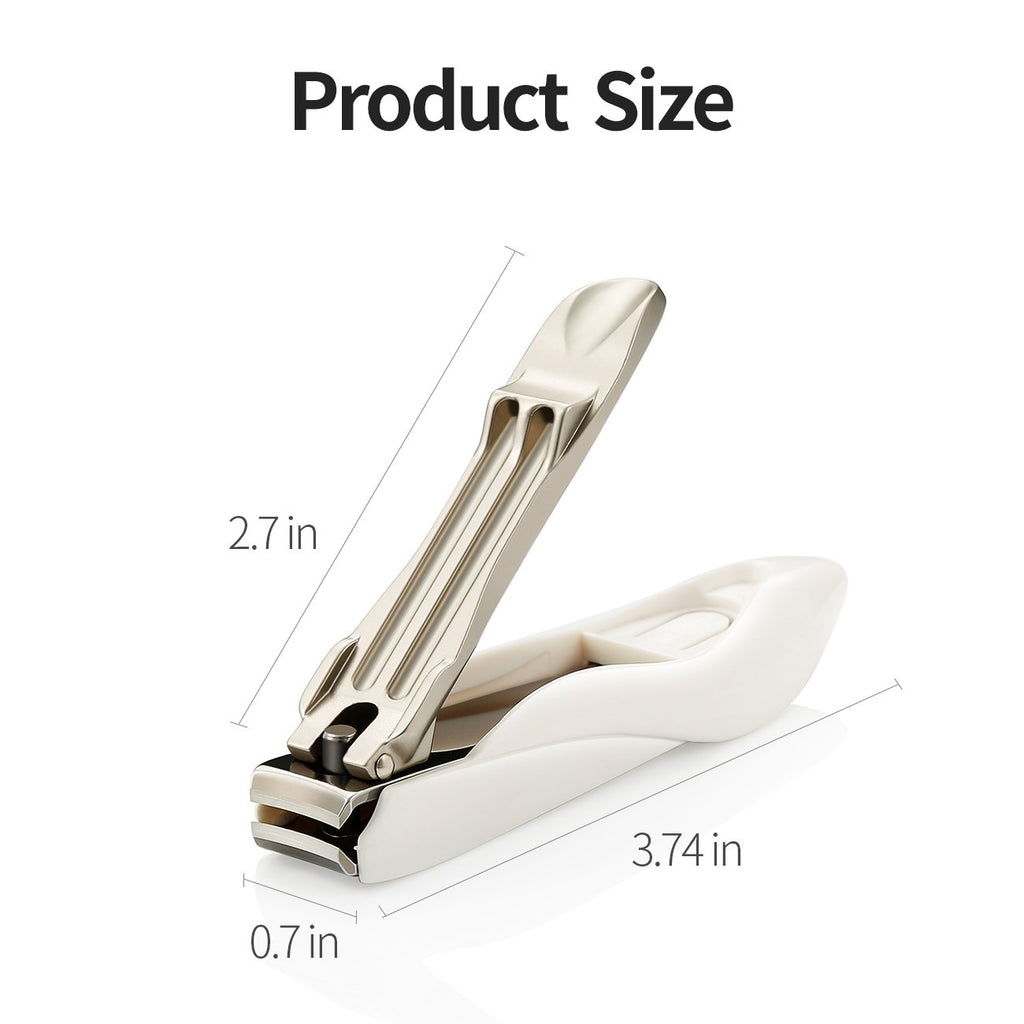 No Splash Nail Clippers for Fingernail and Toenail, 100% Medical Grade Stainless Steel, Professional Nail Cutter with Detachable Nail Catcher Shell,Maximum Sharpness