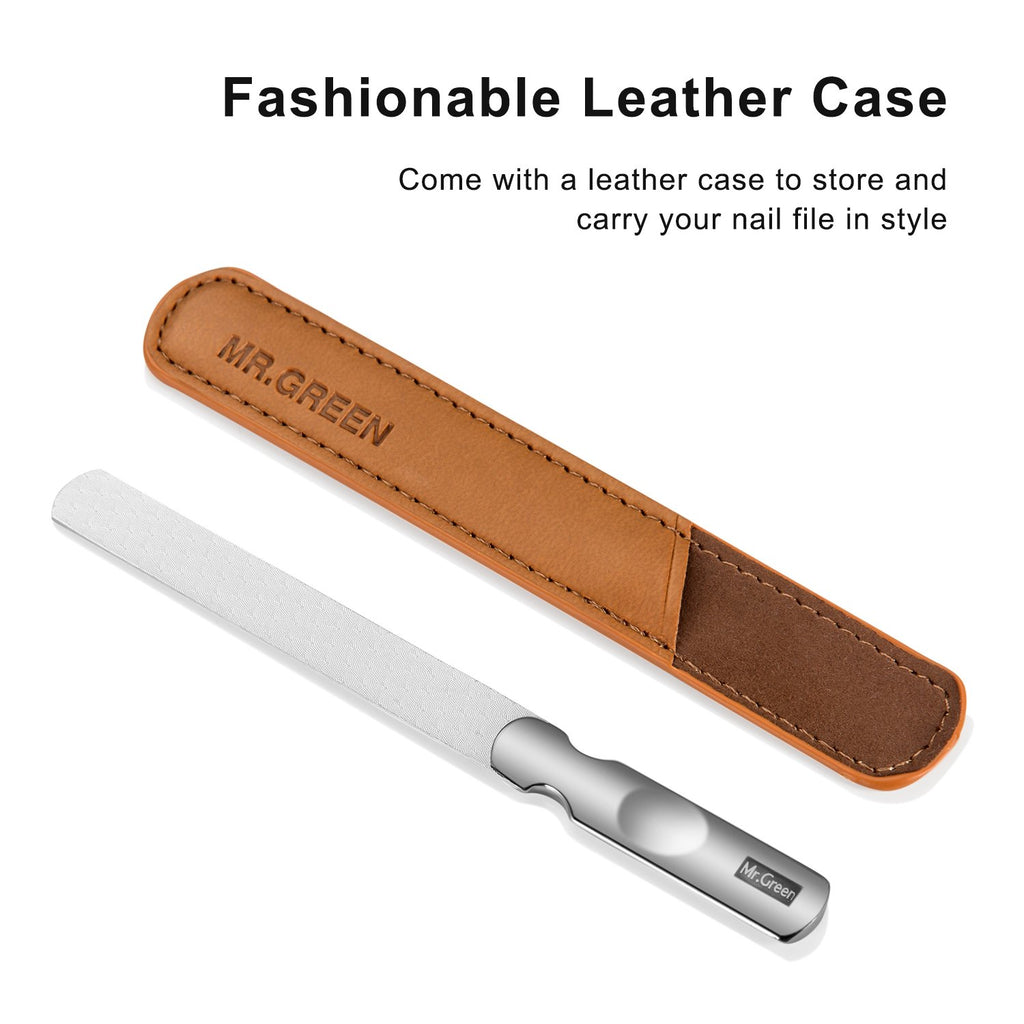 Stainless Steel Nail File with Anti-Slip Handle and Leather Case, Double Sided and Files Nails Easily for Men and Woman