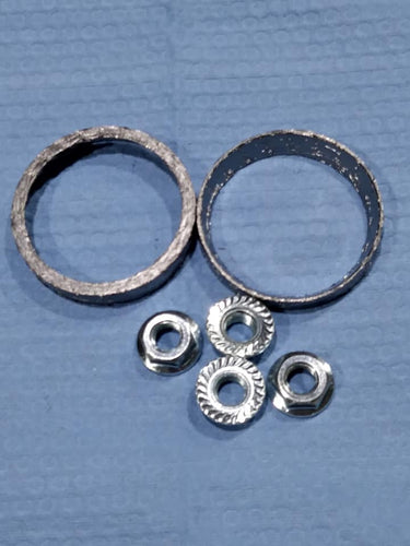 Exhaust Gasket kit: Tapered gaskets w/ new serrated edge flange nuts: