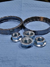 Load image into Gallery viewer, Exhaust Gasket kit: Tapered gaskets w/ new serrated edge flange nuts: