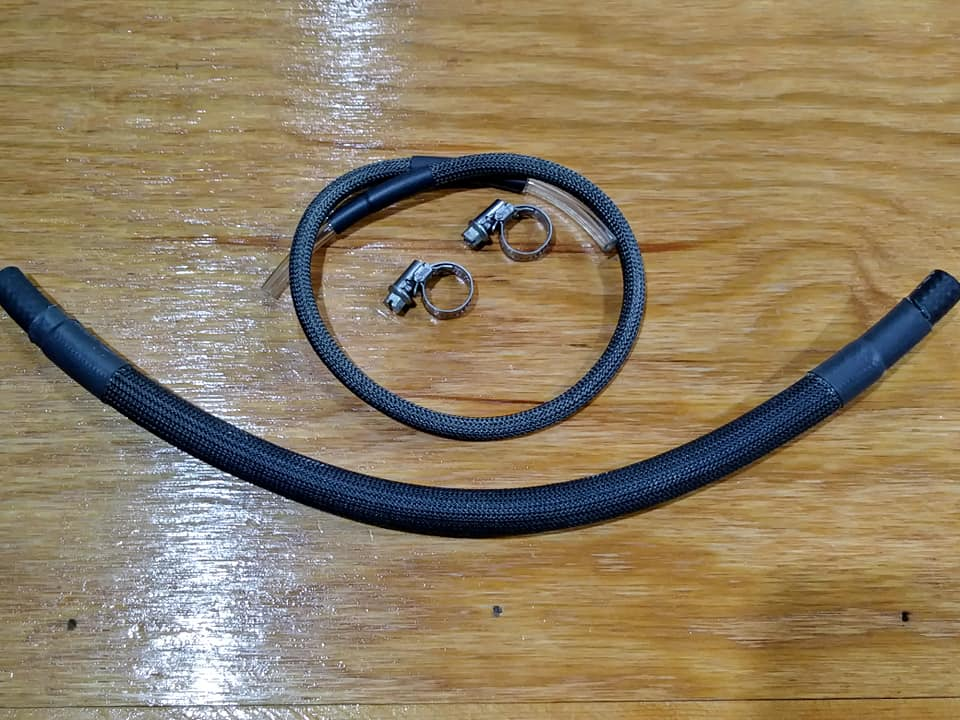 Fuel Line w/ High Temp Sleeving: Carbureted, sold by the inch: BLACK