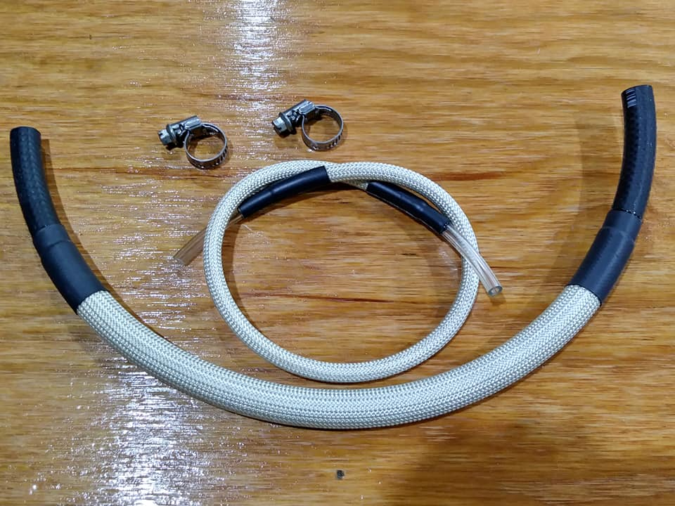 Fuel Line w/ High Temp Sleeving: Carbureted, sold by the inch: BEIGE