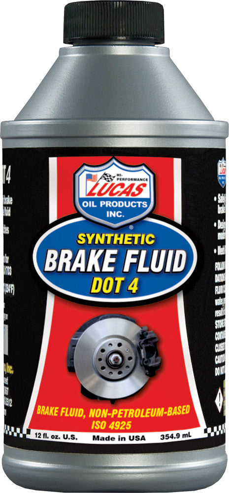 LUCAS SYNTHETIC BRAKE FLUID DOT 4; 12oz