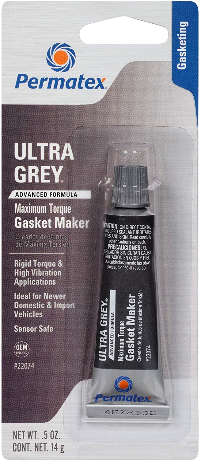 Permatex Ultra Grey Rigid High-Torque RTV Silicone Gasket Maker, 0.5 oz.