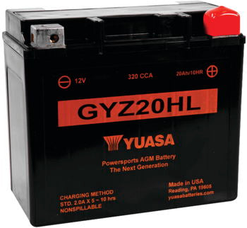 Premium YUASA GYZ20HL 320cca sealed AGM battery, fitting all years/makes Big Dog and others: