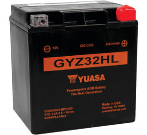 Premium YUASA; GYZ32HL 500cca sealed AGM Battery: '97-'19 FLH, FLT:
