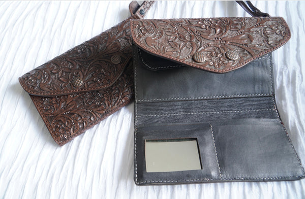 Floral hand tooled wallet