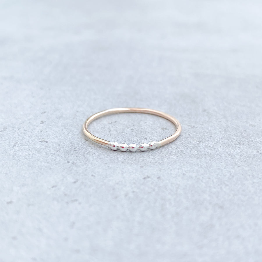 5 BEAD TWO TONE Skinny Ring 14ct Yellow Gold Filled and 925 Sterling Silver
