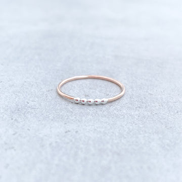 5 BEAD TWO TONE Skinny Ring 14ct Rose Gold Filled and 925 Sterling Silver
