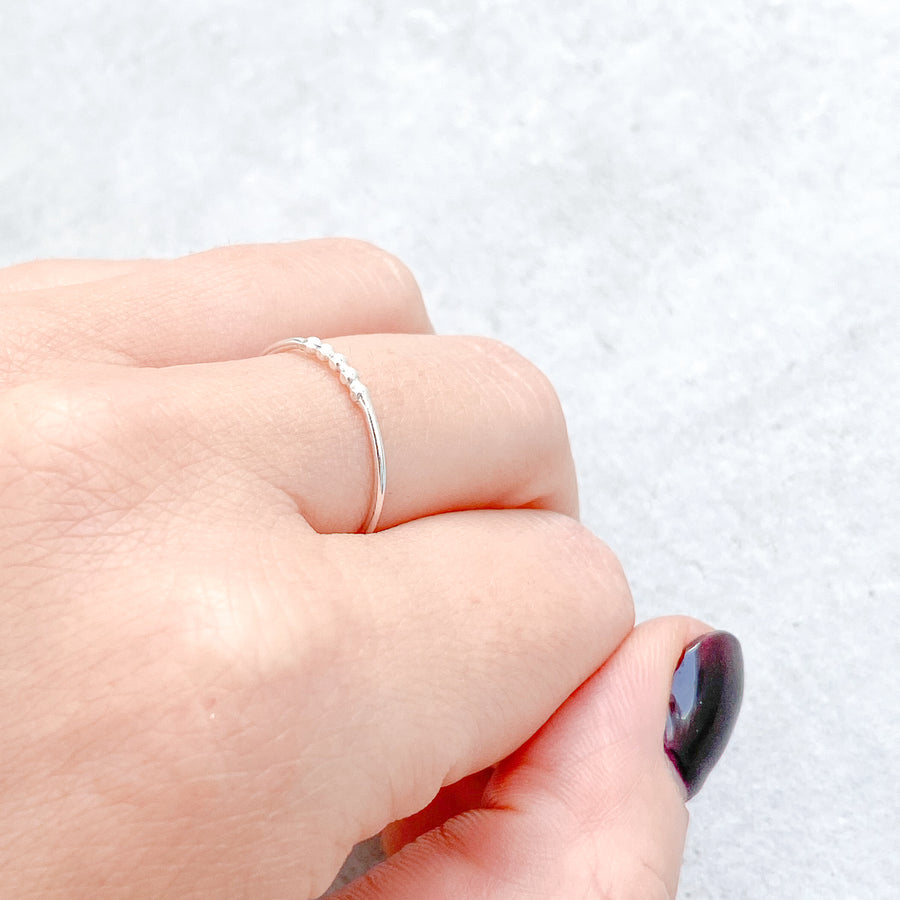 5 BEAD Skinny Ring 925 Sterling Silver