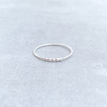 925 Sterling Silver 5 Bead Skinny Ring