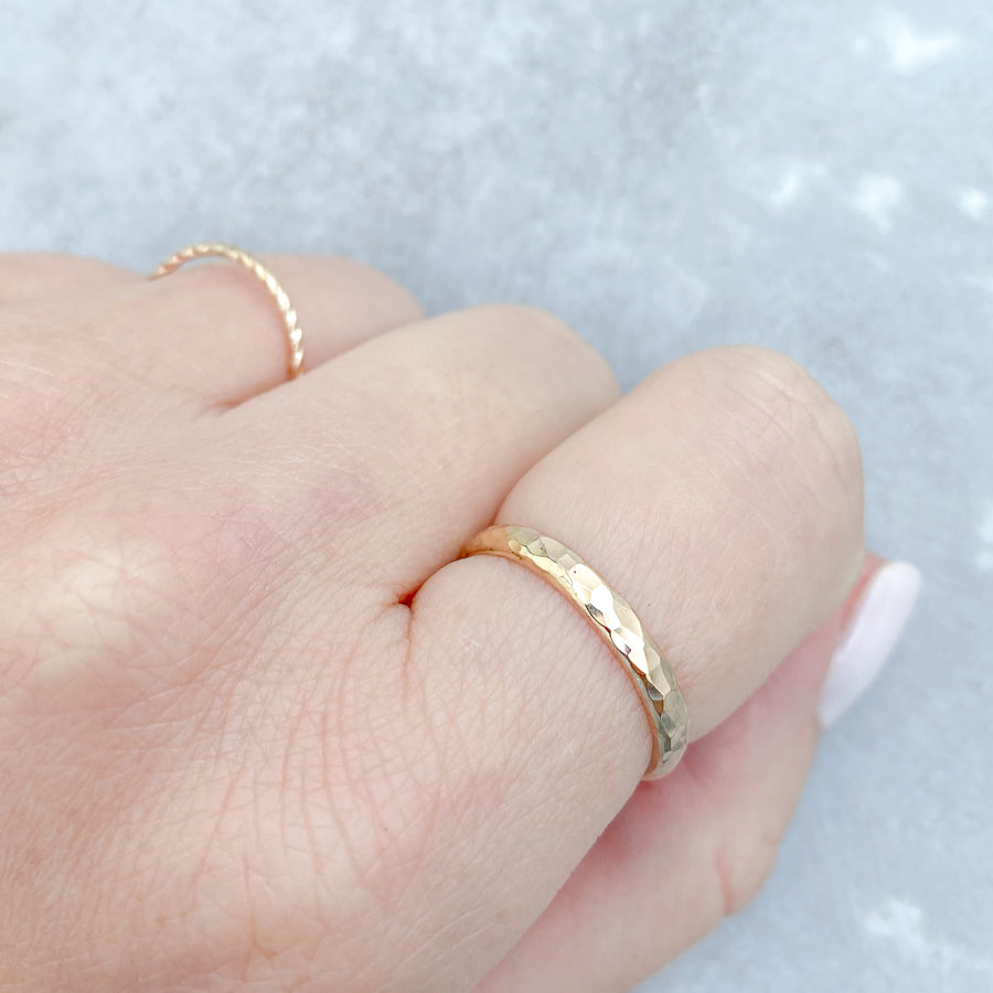 Classic Hammered Ring 14ct Yellow Gold Filled
