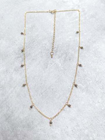 LUCKY STONE NECKLACE WITH PYRITE 14ct Yellow Gold Filled