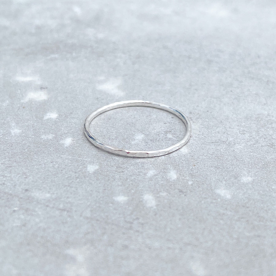 925 Sterling Silver HAMMERED Skinny Ring