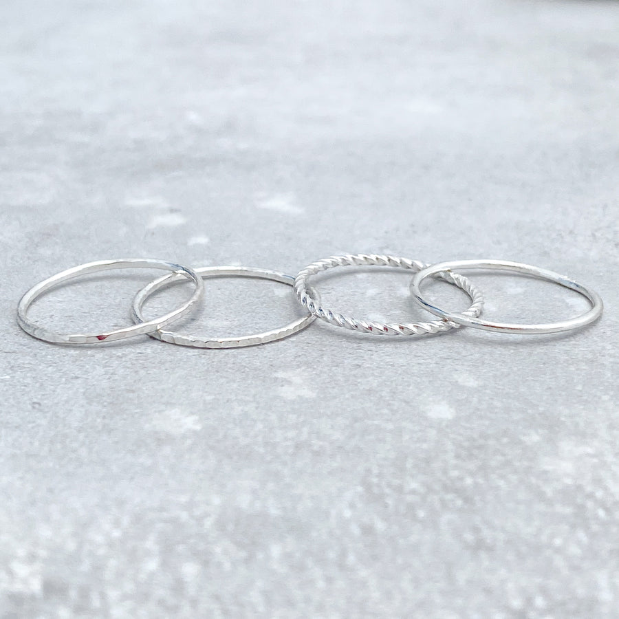 HAMMERED Skinny Ring 925 Sterling Silver
