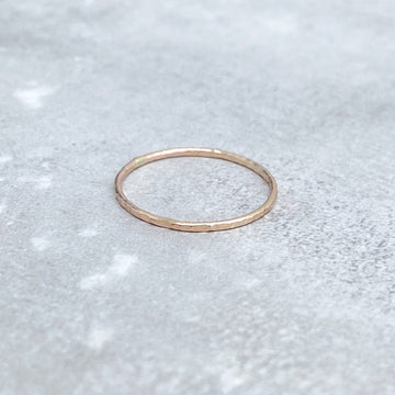 HAMMERED Skinny Ring 14ct Yellow Gold Filled