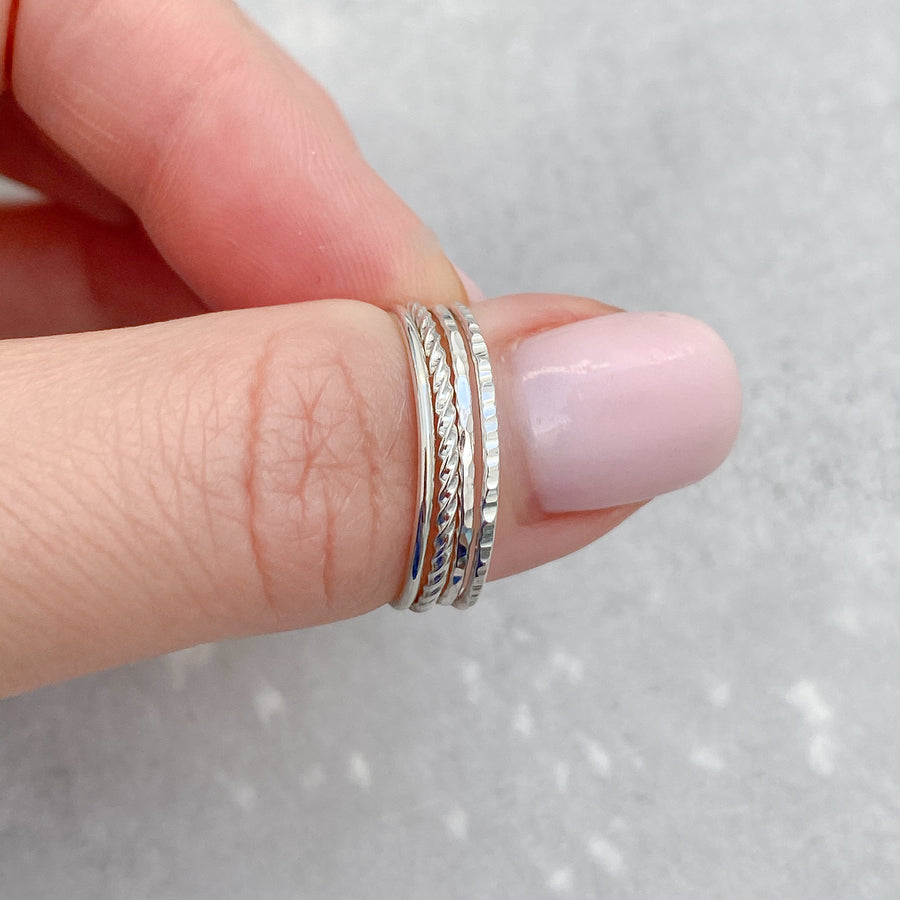 TEXTURED Skinny Ring 925 Sterling Silver