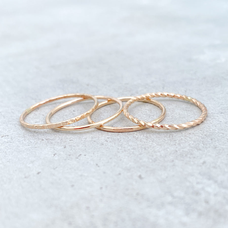TWISTED Skinny Ring 14ct Yellow Gold Filled