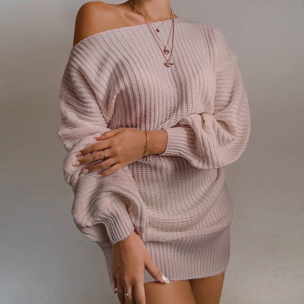 Ladies Casual Off-Shoulder  Sleeve Knitted Sweater Dress