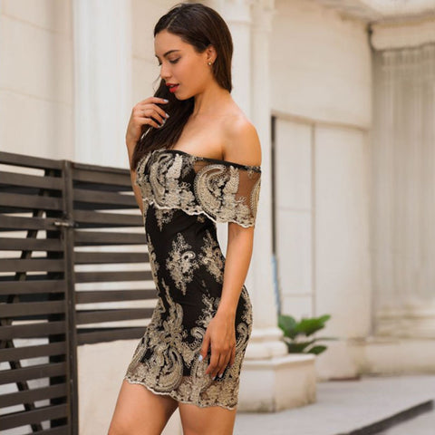 One-shoulder Embroidered Party Dress - Les Value
