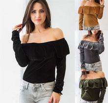 Laden Sie das Bild in den Galerie-Viewer, Women velvet ruffles t shirts - Les Value