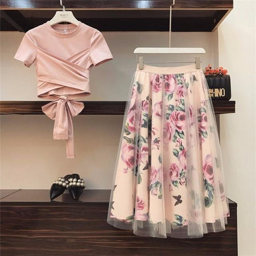 Women Crop Top skirt set - Les Value